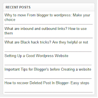 Add simple Recent post widget to blogger
