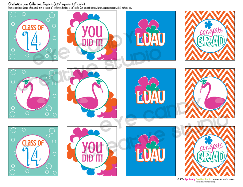 luau themes, graduation luau toppers, chevron, flamingos, graduation decor
