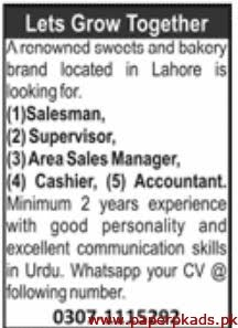 Sweets & Bakery Brand Jobs 2020