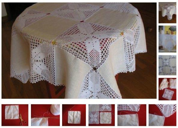 coser mantel de lino y grannys, labores para el hogar.