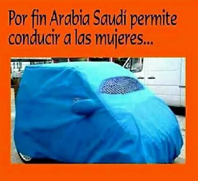 Arabia Saudí permite conducir a las mujeres, funda, azul, burka