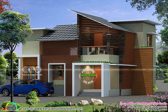 Contemporary house house with cladding designs on front side
