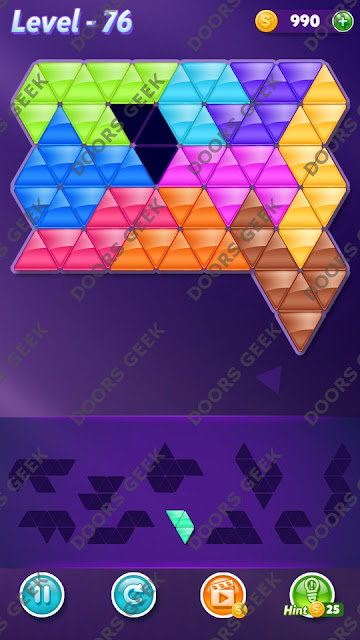 Block! Triangle Puzzle 10 Mania Level 76 Solution, Cheats, Walkthrough for Android, iPhone, iPad and iPod