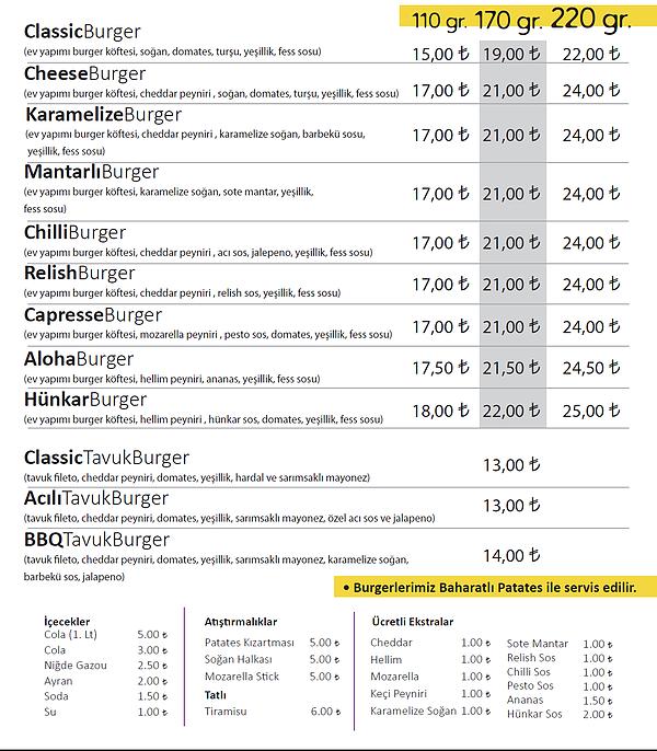 fess burger menü fiyatlar
