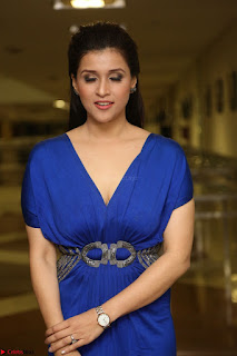 Mannara Chopra in Short Blue Dress at Rogue Movie Teaser Launch 1st March 2017 105.JPG