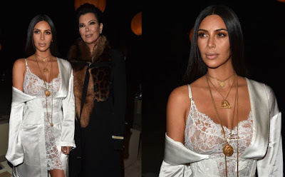 Kim Kardashian Hot Show in Sexy Lacy White Lingerie