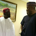 Photos of Bukola Saraki and Bola Tinubu at the presidential dinner for National Assembly members