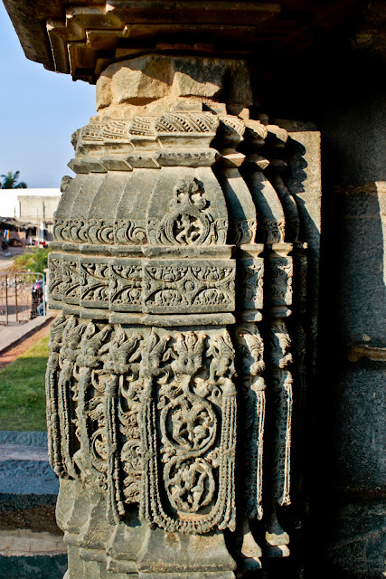 Beautiful carvings on the columns of suryanarayana temple