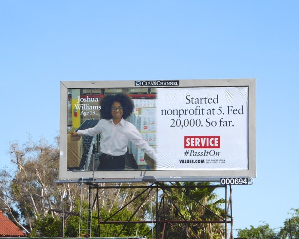Joshua Williams nonprofit at 5 Service Values billboard