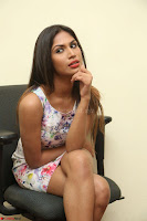Nishi Ganda stunning cute in Flower Print short dress at Tick Tack Movie Press Meet March 2017 128.JPG