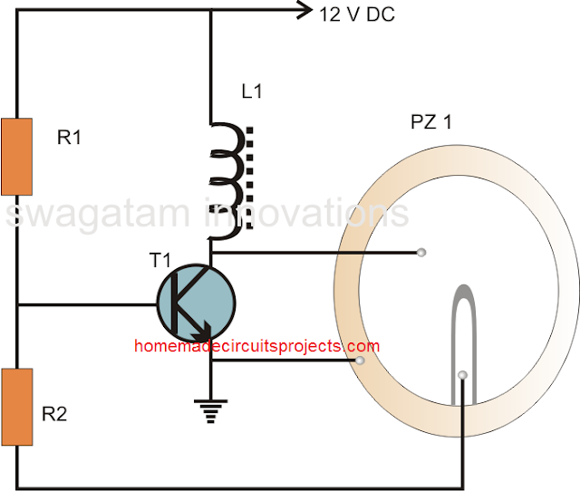 simple piezo buzzer circuit using single transistor