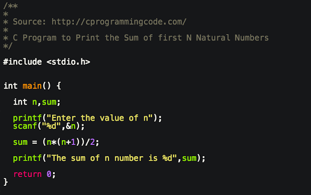 C Program to Calculate the Sum of N Natural Numbers