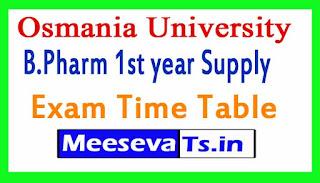 Osmania University OU B.Pharm 1st year Supply  Exam Time Table 2017