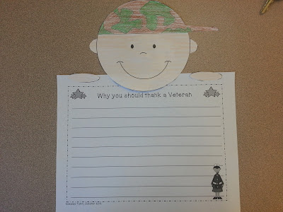 Veterans Day Craft- writing pages attached to cute boy and girl craft