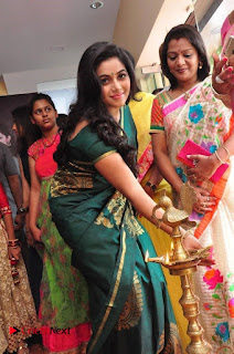 Actress Poorna Latest Pictures in Green Saree at SR Fashion Studio Launch  0008.jpg