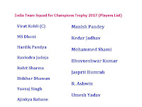 India Team Squad for Champions Trophy 2017 (Players List),India Team player list for Champions Trophy 2017,india team for champions trophy,icc champions trophy 2017,11 player,india confirmed for icc champion trophy 2017,cricket,icc cricket,all team,player name,player list,india cricket team,india team list,Virat Kohli (C),MS Dhoni,Ravindra Jadeja,Rohit Sharma,Yuvraj Singh,R. Ashwin,Mohammed Shami,playing 11,all team squad