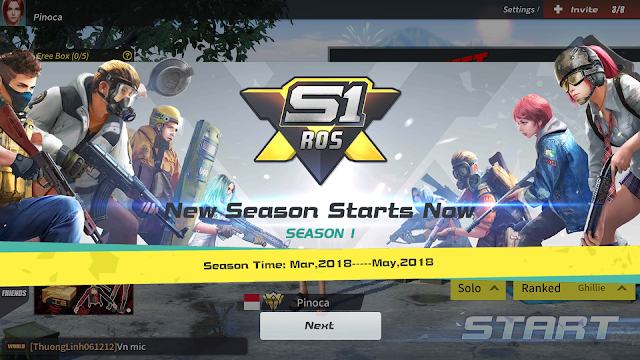 Reward Yang Diberikan Rules of Survival Update dan Ganti Season 1