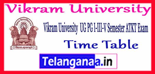 Vikram University ATKT 1st 3rd 5th Semester Time Table 2018-19
