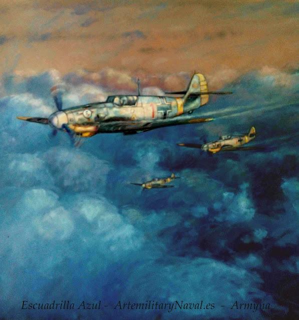 Pintura al óleo de la Escuadrilla Azul sobre el frente oriental