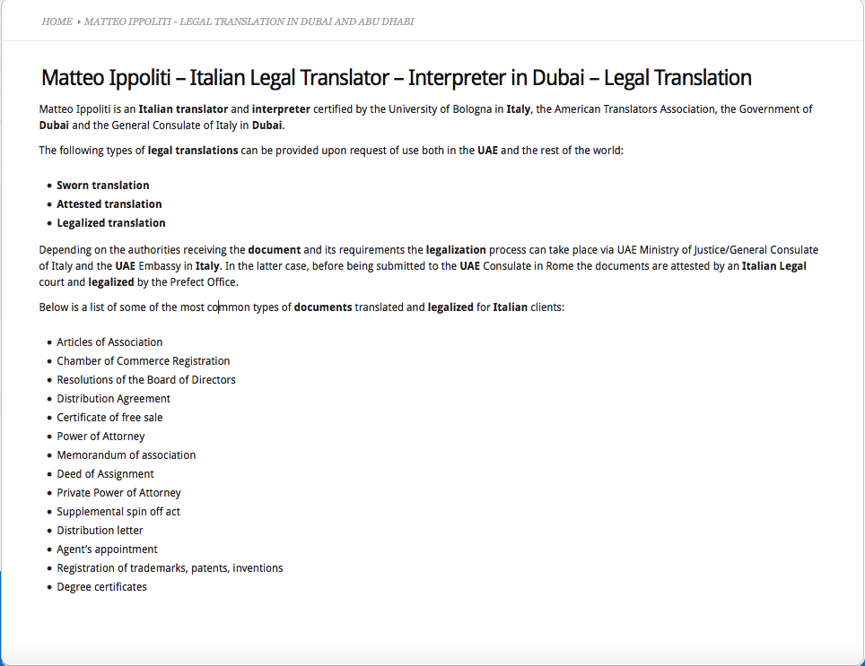 Translator Italian: Italian Translations Dubai