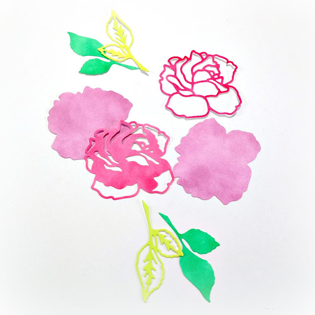 Die-Cut Layered Roses and Leaves Using Colored Cardstock Scraps Inked with Pink Green and Yellow ColorBox DyeStress Ink