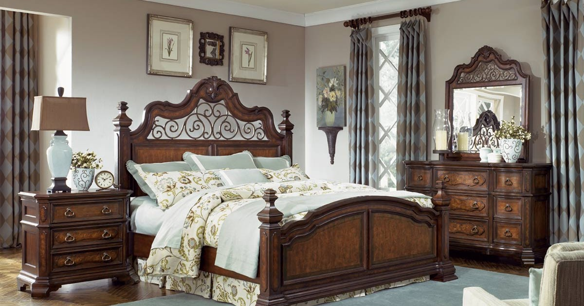 double oak plantation master bedroom furniture with iron