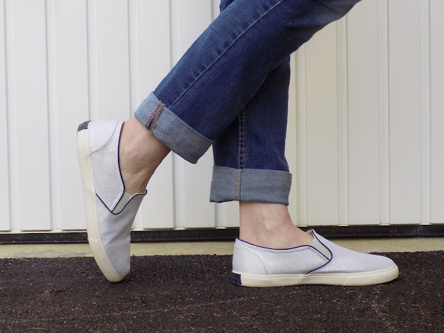 Boden Silver pull on trainers