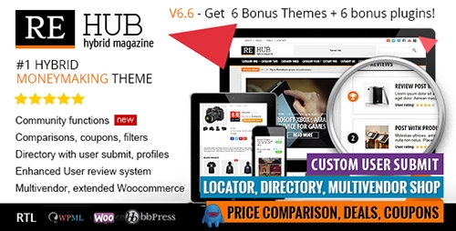 REHub v6.6 Download - Directory, Multi Vendor, Shop, Coupon, Affiliaae Premium WordPress Theme