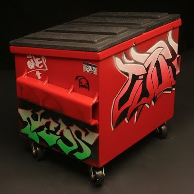 distressed furniture words graffiti decorated desktop dumpsters by steelplant if its hip