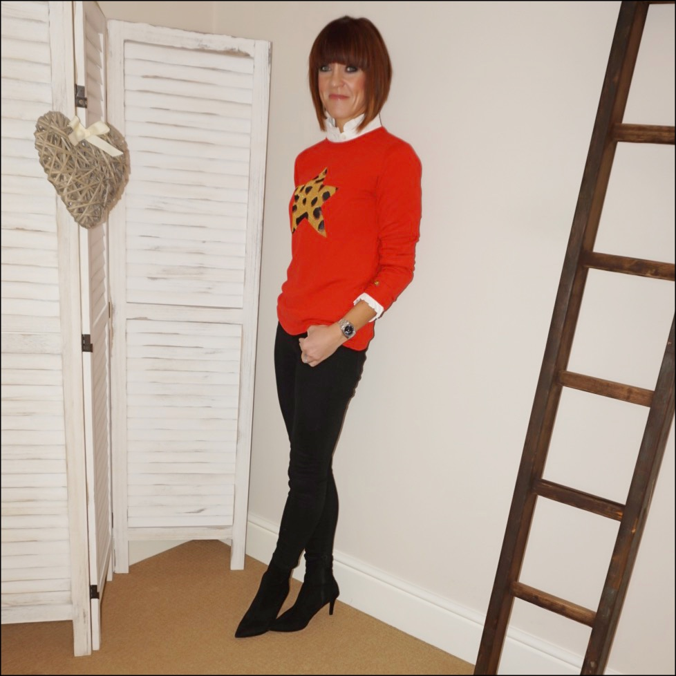 my midlife fashion, uniqlo high collar frill blouse, bella freud leopard print star jumper, j crew womens 8 stretchy toothpick jean in true black, marks and spencer stiletto heel velvet ankle boots