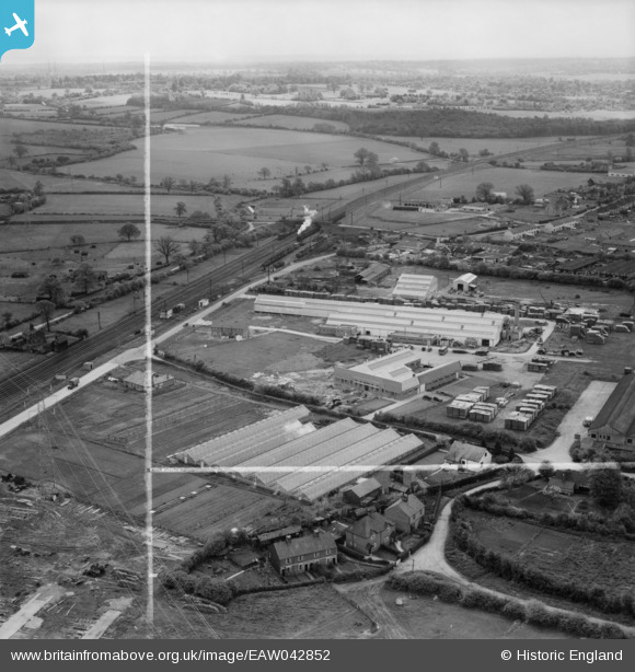 Photograph of The Dottridge Brothers Ltd Coffin Factory at Marshmoor and environs, Welham Green, from the north-west, 1952.  This image was marked by Aerofilms Ltd for photo editing. Original Britain From Above caption