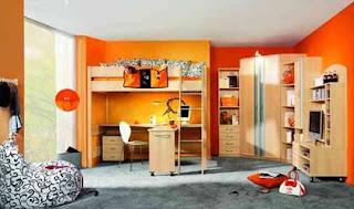 habitación para niño naranja
