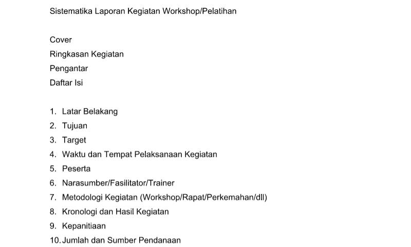 Format Sistematika Laporan Kegiatan Workshop pada Administrasi TataUsaha Sekolah (TU)