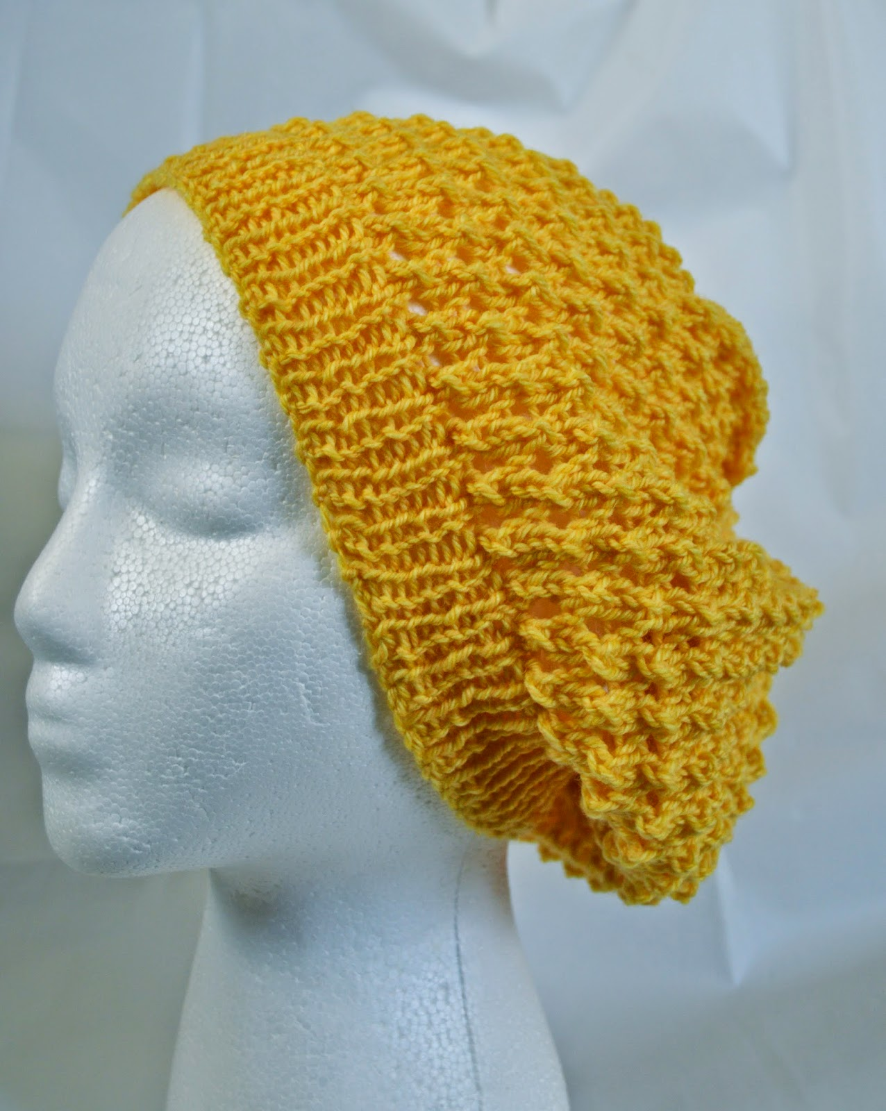 Slouchy beanie for dreadlocks in summer & spring. Lacy tam or hat.