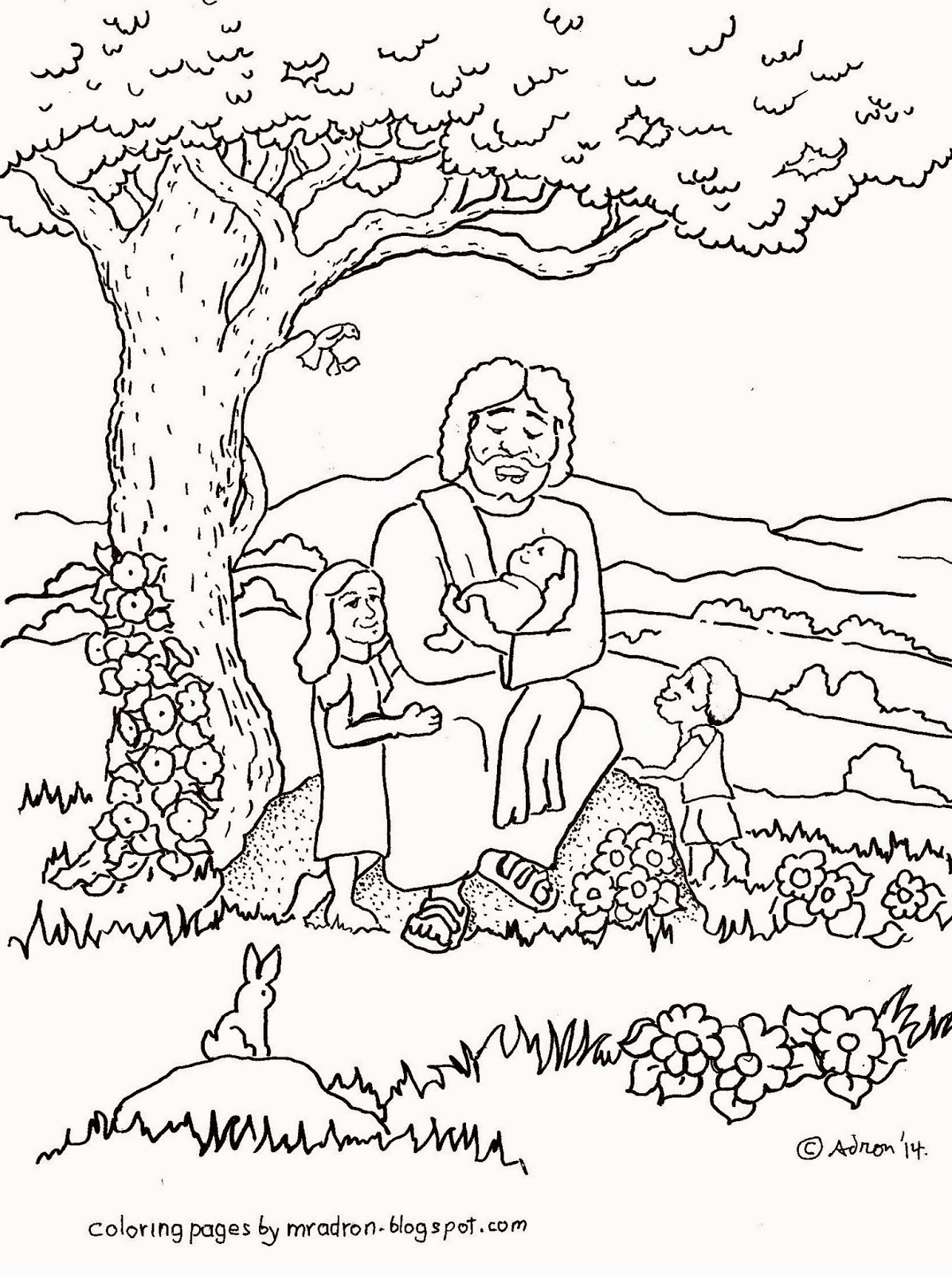 An illustration of Mark 10:13 to print and color.