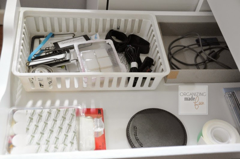 Organized drawer inside the Ikea Alex file drawer unit :: OrganizingMadeFun.com