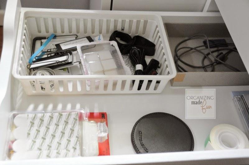 Organized drawer inside the Ikea Alex file drawer unit :: OrganizingMadeFun.com