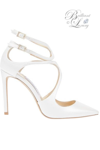 Brilliant Luxury ♦ Jimmy Choo Lang satin pumps white