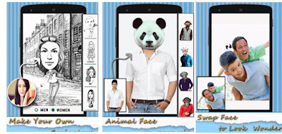 Aplikasi edit foto lucu android face look changer