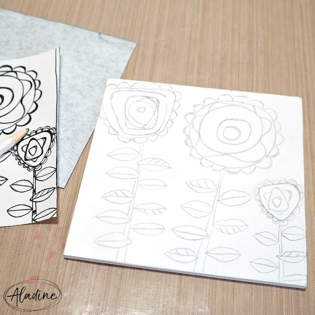 How to Use Carbon Paper to Transfer a Color Page Design onto a Canvas