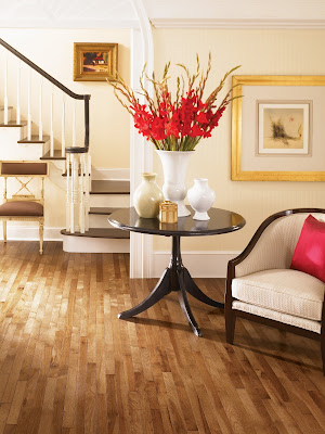 Hardwood floor ties this open floor plan together