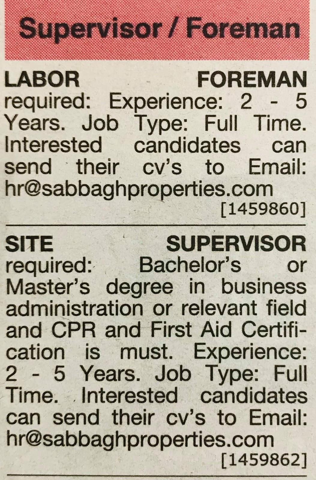 Required Foreman & Site Supervisor for UAE Local Hiring JOBS Khaleej