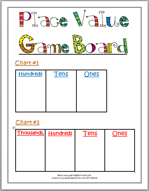 learning ideas grades k 8 printable place value game. Black Bedroom Furniture Sets. Home Design Ideas