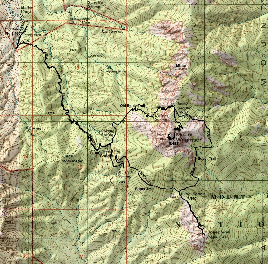 study the informative map placard at the old baldy trailhead elevation 5 460 feet two trails climb to josephine saddle old baldy 372 and the super