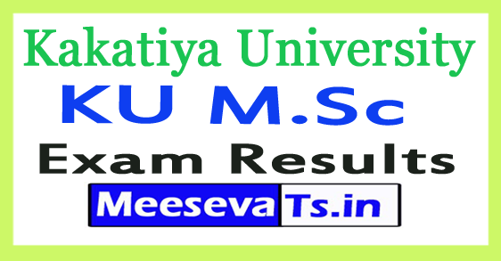 Kakatiya University KU M.Sc Exam Result 2017