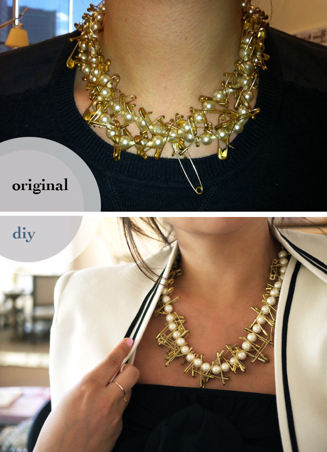 pearl and safety pin necklace DIY