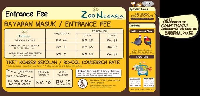 Harga Tiket Terkini Masuk Zoo Negara Malaysia 2016