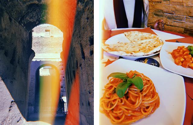 A la izquierda, parte del interior del Coliseo Romano. A la derecha espaguetis, pizza y ñoquis italianos.