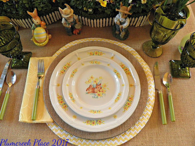 burlap chargers, burlap table covering, daffodils, Domestications Bunny Plates, Easter decor, Easter tablescape, Here comes Peter Cottontail, Paper Mache Bunnies, Peter Cottontail, violas