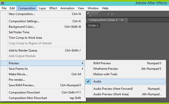Enable Audio Preview In Adobe After Effects